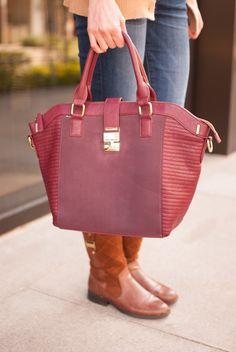 burgundy bag and boots