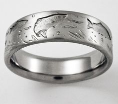 DeSoto 1 titanium ring with trout | Titanium wedding rings with trout