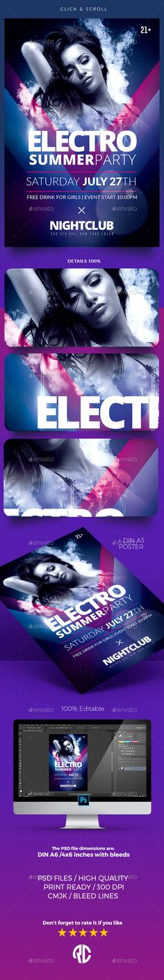 Electro Flyer\/ Poster Vol2 Electro music, Flyer template and Ui ux - electro flyer