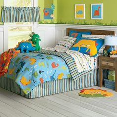 Big boy bedroom for the boy who loves dinosaurs. Not too baby-ish but not scary.