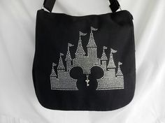 Rhinestone Messenger Bag Disney Castle With Mickey Head It Comes With A Removable Charm,