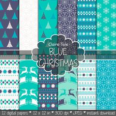 "Christmas digital paper: ""BLUE CHRISTMAS"" christmas backgrounds with deers, santa, snowflakes, christmas trees"