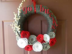 OSU, Ohio State, Go Bucks Wreath - Yarn Wrapped Wreatth with felt flowers, pearls, berries, and glitter letters. $38.00, via Etsy.
