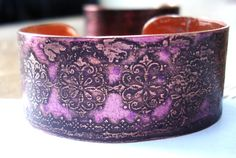 Etched Copper Cuff with Art Deco Design and Alcohol by DaleBCraft,