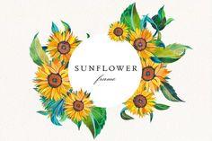 Watercolor Sunflower, Watercolor Flowers, Celtic Runes, Sunflower Wreaths, Frame Wreath, Wedding Frames, Botanical Prints, Watercolor Illustration, Printable Wall Art