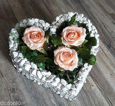 ♥ HERZ MIT KIES ROSEN FRIEDHOF BLUMEN GRABSCHMUCK GRABSCHALE LIEBE KERZE NEU ♥