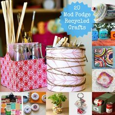 20 Awesome Mod Podge Recycled Crafts - a lot of dollar store themed ideas!