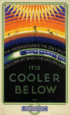 Vintage London Underground Travel Poster by Frederick Charles Herrick,