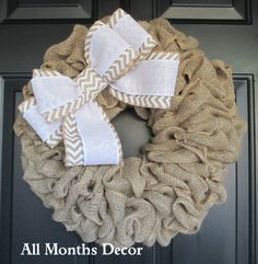 Rustic Natural Burlap Wreath with White Chevron Burlap Bow by All Months Decor Allmonthsdecor.com