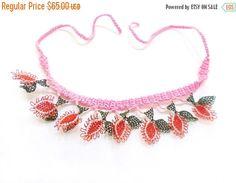 ON SALE Needle Crochet Lace Jewelry Necklace Wearable Art