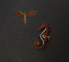 Seahorse ear cuff copper and blue mermaid earring no by RockTime