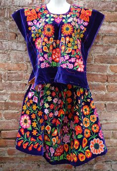 Mexican Women's Tehuana Dress Vintage Frida Kahlo Style Flowers Embroidered | eBay