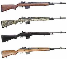 Springfield Armory M1A stocks: the M1A National Match walnut stock; camouflage synthetic stock; black synthetic stock; and walnut GI style stock