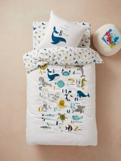 Duvet Cover + Pillowcase Set for Children, Marine Animal Alphabet Theme - white light solid with design, Bedding & Decor Boy Toddler Bedroom, Baby Boy Rooms, Toddler Rooms, Girls Bedroom, Alphabet For Kids, Animal Alphabet, Childrens Duvet Covers, Sea Bedrooms, Cot Blankets