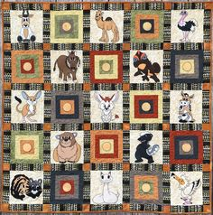 """Browse the block designs that are featured in our """"Midnight at the Oasis"""" quilt! Applique Patterns, Quilt Patterns, Desert Animals, Animal Quilts, How To Finish A Quilt, Quilt Sizes, African Animals, Pattern Blocks, Baby Quilts"""