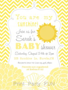 You Are My Sunshine Baby Shower Invitation   Yellow And Grey Stripes And  Chevron Stripes   DIY   Printable | Sunshine Baby Showers