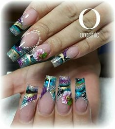 C Colorful Nail Designs, Beautiful Nail Designs, Nail Art Designs, Fancy Nails, Cute Nails, Pretty Nails, Nails Plus, Mobile Nails, 3d Nails