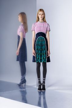 Beautiful Illusion Designed Dress in Black Accented with a Wave of Pink and a Wave of Turquoise - Mary Katrantzou Pre-Fall 2016 Collection Photos - Vogue