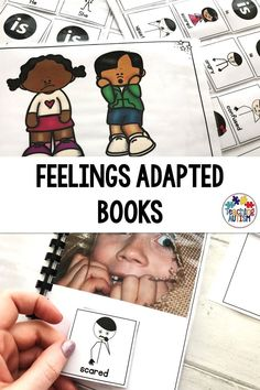 Do your students need to work on their sentence building skills? And feelings recognition? Then these adapted books are perfect! Social Skills Activities, Hands On Activities, Teaching Resources, Classroom Resources, Autism Resources, Autism Teaching, Autism Classroom, Special Education Classroom, Different Sentences
