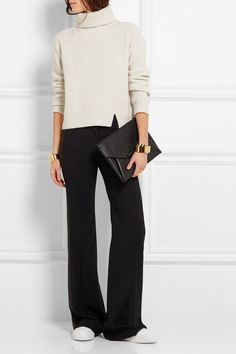 Wide leg pants, cream turtleneck sweater, sneakers