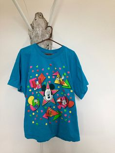 982e742dfce 80s Vintage Mickey Mouse Party Shirt - Neon - Graphic Tee - Oversized T- shirt