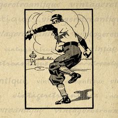 Vintage Baseball Player Graphic Printable by VintageRetroAntique