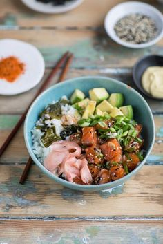 salmon poke that is sushi in a bowl