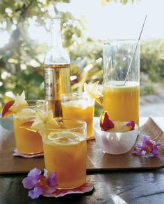Pureed fresh mangos, pineapple juice, and golden rum make a simple and refreshing tropical cocktail. You can make a big batch of the mango-rum puree ahead of time so you'll be party-ready when guests arrive.
