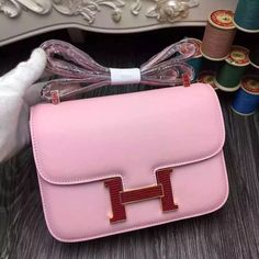 Hermes 18cm 23cm Constance Swift Bag with Lizard Leather Buckle Pink 2016  Hermes Constance Bag 4207a755a3591