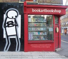 Graffiti Art © STIK (Artist, UK) http://stik.org http://en.wikipedia.org/wiki/Stik Booklover photo, 2005 (detail) © Jim BOND (Photographer, UK), via Flickr. www.JimBond.co.uk Bookshop: www.BookArtBookShop.com London, England. [The law requires you to credit the artists. Link directly to artists' website.] PINTEREST on COPYRIGHT: http://pinterest.com/pin/86975836526856889/ The Golden Rule: http://www.pinterest.com/pin/86975836527744374/