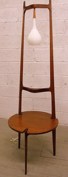 Mid-century modern danish floor lamp and table.