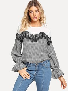 Casual Plaid and Colorblock Top Regular Fit Round Neck Long Sleeve Pullovers Grey Regular Length Eyelash Lace Embellished Flounce Sleeve Plaid Top Hijab Fashion, Fashion Outfits, Womens Fashion, Mode Abaya, Blouse And Skirt, Refashion, Casual Tops, Jogging, Cool Outfits