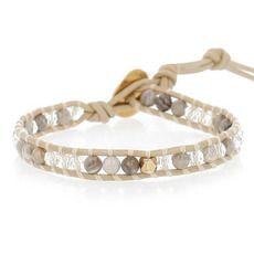 Silver Leaf Jasper Mix Single Wrap Bracelet
