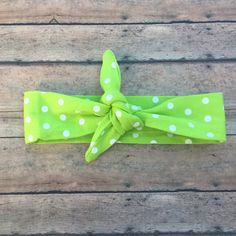 Green headband - polka dot tie knot - Baby Girl Knot Headband - Green - Baby Tie Knot - Head Wrap - Turban Headband - Fabric Baby Headband by BBgiftsandmore on Etsy