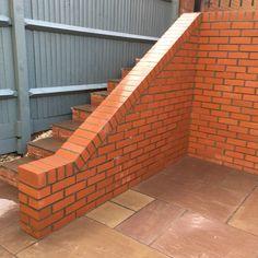engineering brick wall with raking cut & brick on edge Brickwork, Bespoke Design, Brick Wall, Garden Design, Stairs, Landscape, Building, Home Decor