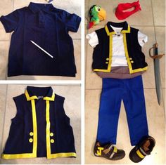 Make your own inexpensive Jake and the neverland pirates costume for a toddler. Make your own inexpensive Jake and the neverland pirates costume for a toddler. Diy Pirate Costume For Kids, Homemade Pirate Costumes, Pirate Halloween, Last Minute Halloween Costumes, Halloween Kids, Pirate Crafts, Halloween Witches, Couple Halloween, Happy Halloween