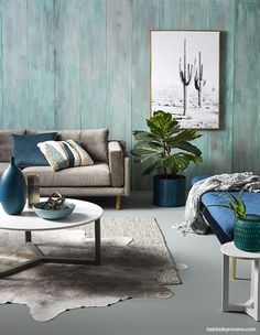 We created this high-texture feature wall by painting plywood 'planks' in a basecoat of Resene Inside Back, and roughly over brushing with Resene Stromboli, . Feature Wall Living Room, Living Room Green, Living Room Paint, Living Room Interior, Home Living Room, Feature Walls, Painting Plywood, Painted Plywood Floors, Flat Interior