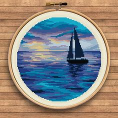 Easy Cross Stitch Patterns, Simple Cross Stitch, Cross Stitch Kits, Cross Stitch Charts, Cross Stitch Designs, Embroidery Art, Cross Stitch Embroidery, Embroidery Patterns, Cross Stitch Landscape