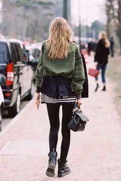 Cargo jacket, stripe shirt, black leggings, combat boots.