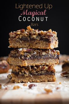 Lightened Up Magical Coconut Bars - good and good for you!  @ohsheglows