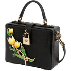 Dolce & Gabbana Women Tulips Embossed Leather Dolce Box Bag (€2.995) ❤ liked on Polyvore featuring bags, handbags, shoulder bags, clutches, flower handbags, dolce gabbana purses, embossed leather purse, studded purse and flower purse
