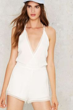 Have Your Cake Plunging Romper - Nasty Gal White Romper Dress, Romper Outfit, Playsuit Romper, White Playsuit, Casual Outfits, Cute Outfits, Casual Clothes, Jumpsuit Dressy, Cute Rompers