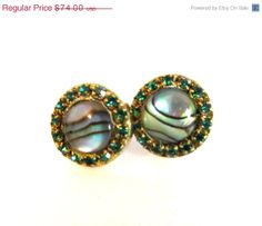 NEWYEAR SALE Sparkling abalone and green by YaronaJewelryDesign, $63.64