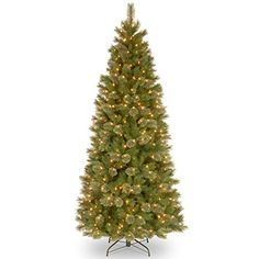 National Tree Tacoma Pine Slim Hinged Tree, 7-1/2-Feet, 500 Clear Lights * Review more details @…