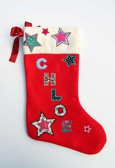 Luxury Personalised Handmade Christmas Stocking - Name: Chloe Roses Luxury, Vintage Fabrics, Homemade Christmas, Christmas Stockings, Trending Outfits, Handmade Gifts, Wool, Holiday Decor, Chloe