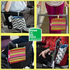 CUSTOM ORDER. Hook Handle Tote with Attached Strap for Walker-Wheelchair-Scooter. Exclusively Designed & USA handmade. Customize it