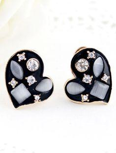 White Gemstone Black Gold Heart Stud Earrings US$7.18