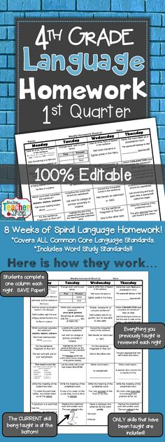 Spiral Language Homework, Morning Work, or Centers for the ENTIRE 1st Quarter of FOURTH GRADE! Aligned with 4th grade Common Core Language standards {Grammar & Word Study}. These sheets are 100% EDITABLE, and come with answer keys. Paid