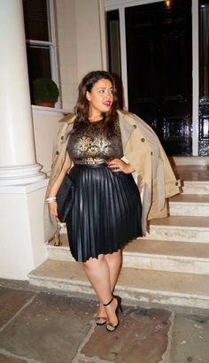 Party party party. Love this shimmering evening look. Plus Size Fashion for Women - Inside Allie's World: London Fashion: Trench Coat Moment