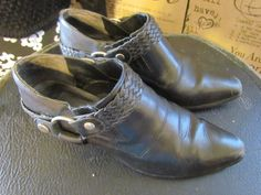 Vintage leather Harness Booties by glamtownvintage on Etsy,